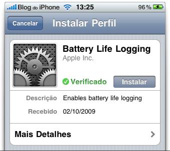 Perfil de configuração enviado pela Apple