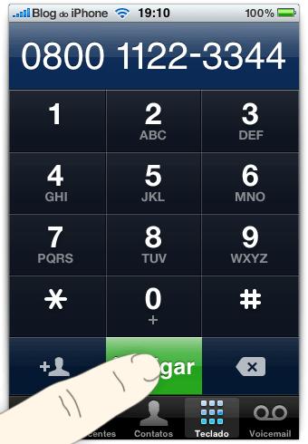Basta tocar no botão LIGAR, sem selecionar nenhum número