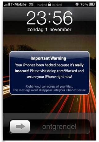 Mensagem na tela bloqueada