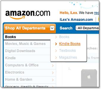 Livros em formato Kindle no site da Amazon